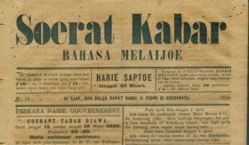 Soerat Kabar Bahasa Melaijoe th.1856 f