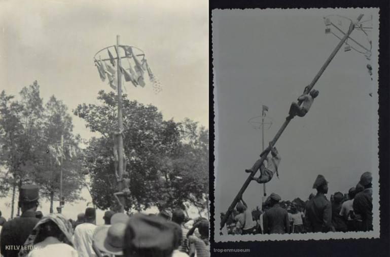 Lomba panjat pinang di zaman Hindia Belanda tahun 1930an (Foto KITLV & Tropenmuseum)