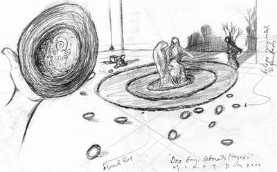 "Coretan sketsa Herry Dim untuk karya kolaborasinya, ""Doa bagi Sebuah Negeri "","